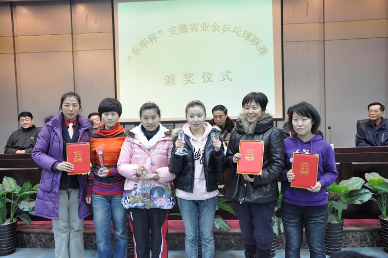 """荣获2009年""""东华杯""""安徽省业余乒乓球联赛女子"""